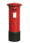 British red post box, isolated on a white background